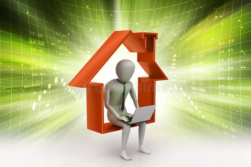 Het werk thuis concept stock illustratie