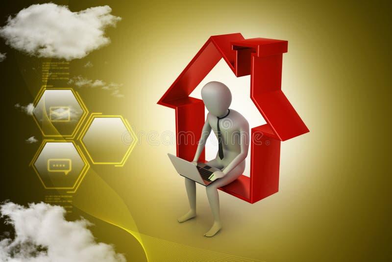 Het werk thuis concept vector illustratie