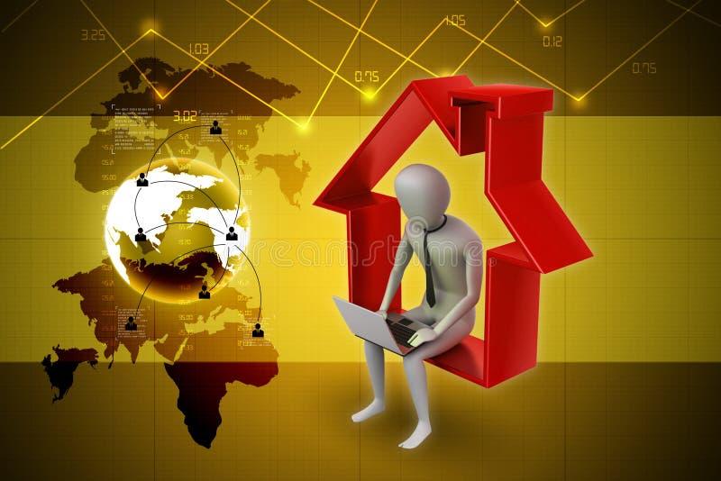 Het werk thuis concept royalty-vrije illustratie