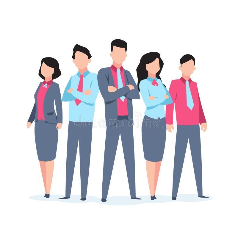 Het werk van het bedrijfskaraktersteam Van het de werknemersbeeldverhaal van bureaumensen collectieve het groepswerkmededeling Vl vector illustratie