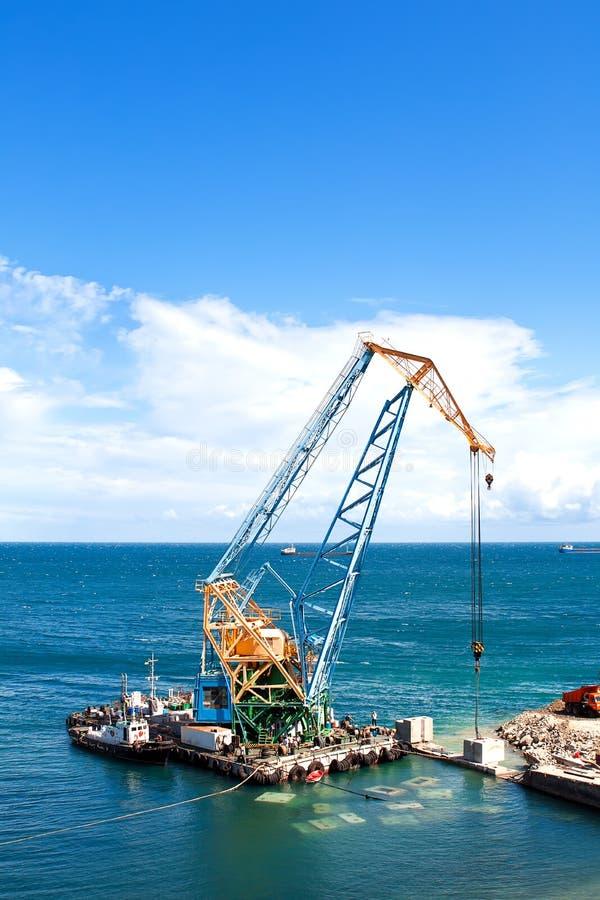 Het werk van de bouw in haven royalty-vrije stock foto's