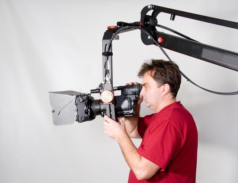 Het werk van de cameraman met kraan royalty-vrije stock foto's
