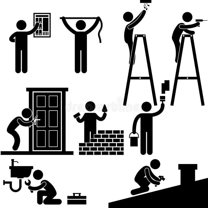 Het Werk van de Elektricien van het manusje van alles Bevestigende Reparatie royalty-vrije illustratie