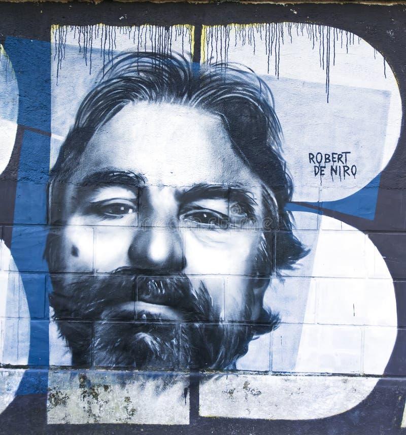 Het werk van de graffitikunst van Robert de Niro stock foto