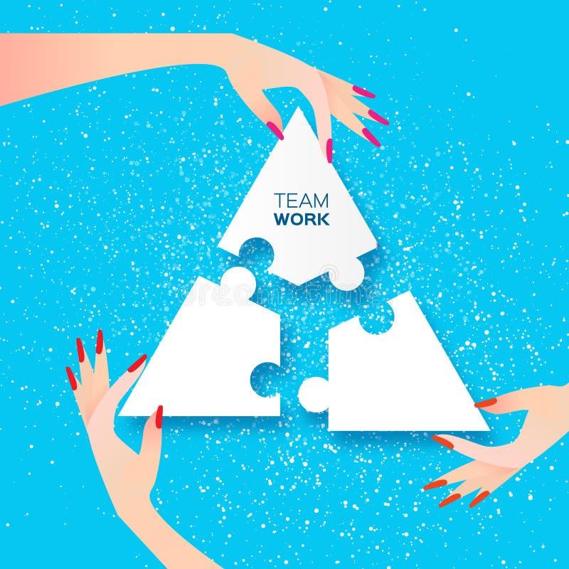 Het werk van het vrouwen samen team Bedrijfs mensen Stuk boven hiaat stock illustratie
