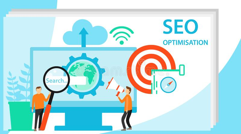Het werk van het mensenteam samen aangaande seo Modern vlak ontwerpconcept Seo Optimization voor website en mobiele website vlak vector illustratie