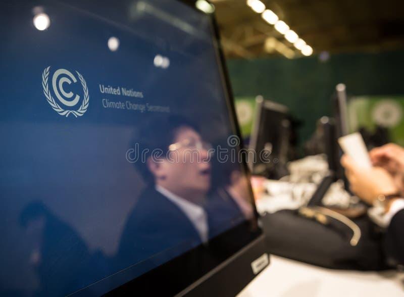 Het werk van pers tijdens de V.N.-Conferentie bij de Klimaatverandering stock afbeelding