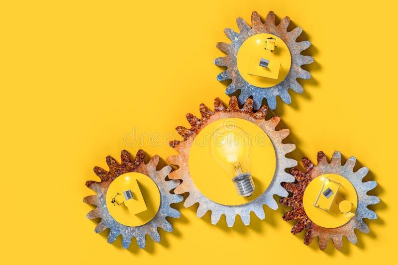 Het werkbureau en gloeilamp op het toestel vector illustratie