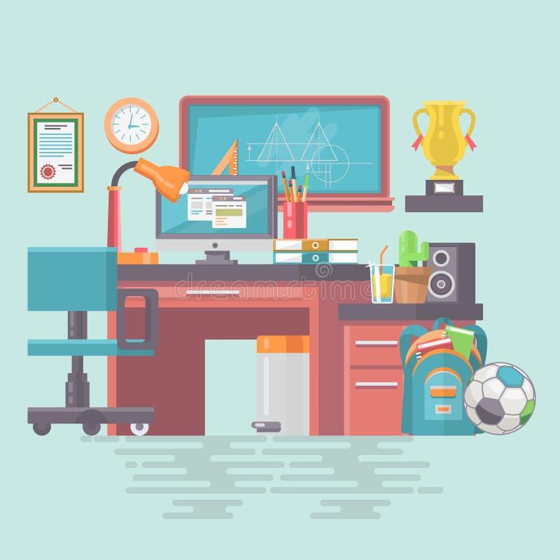 Het werkbureau van schooljongen met moderne gadgets, computer, PC, dossiers, raad, stoel en schoollevering royalty-vrije illustratie