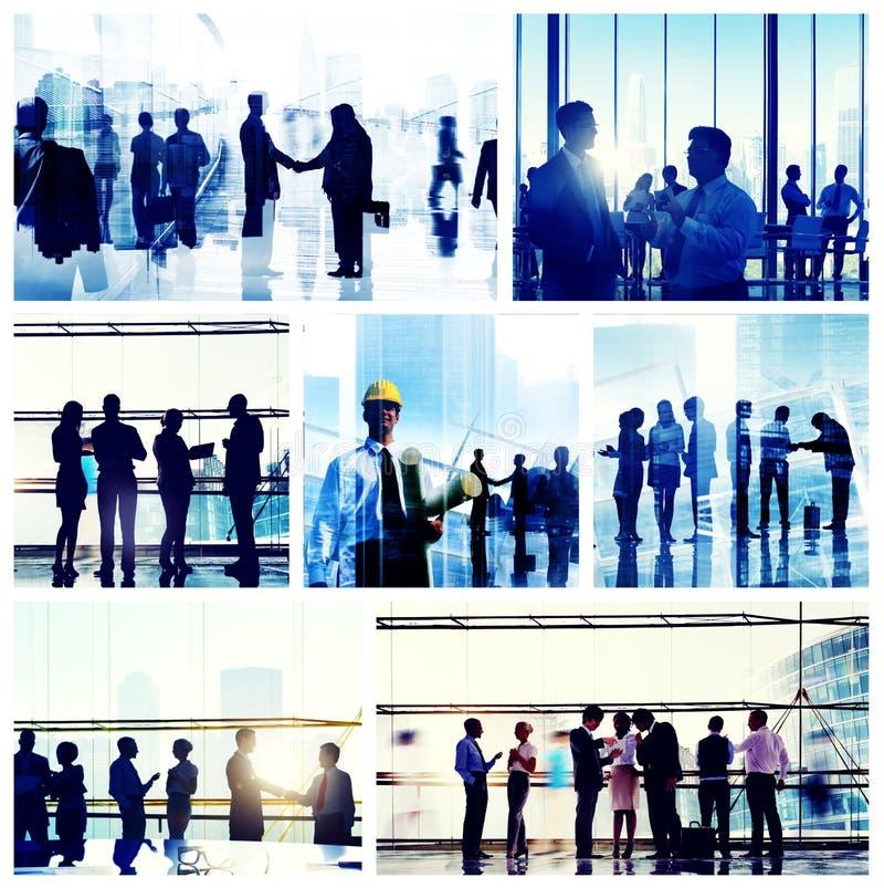 Het Werkcityscape van het bedrijfsmensen Collectief Bureau Concept royalty-vrije stock afbeelding