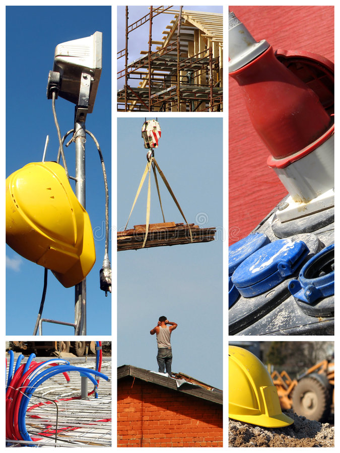 Het werkcollage van de bouw stock foto