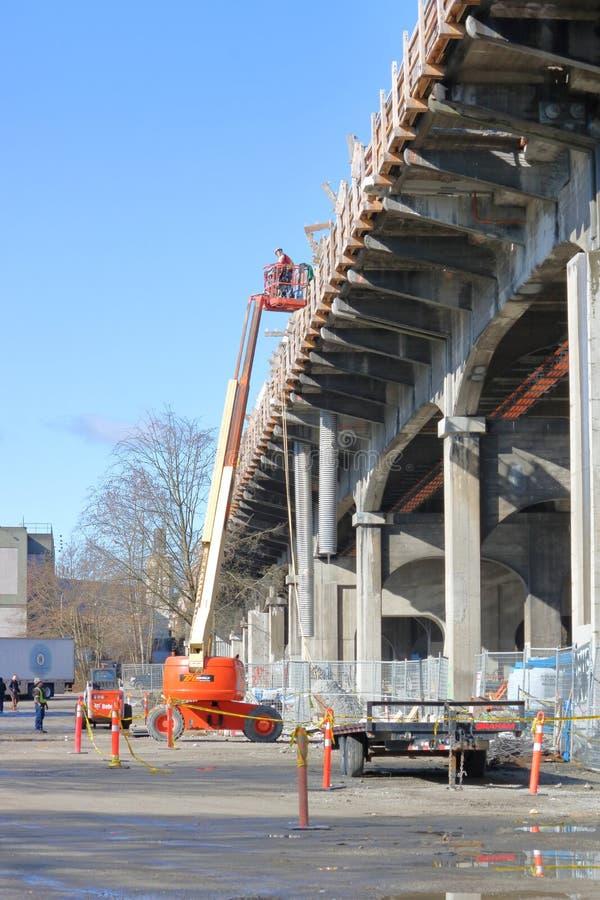 Het werken aan de Straatbrug van Vancouver ` s Burrard royalty-vrije stock foto