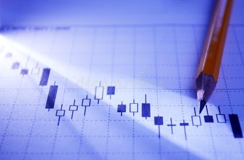Het werken aan een statistische bedrijfsgrafiek stock foto's