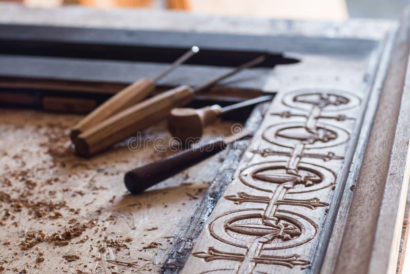 Het werken met houten proces royalty-vrije stock foto's