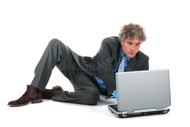 Het werken met laptop stock foto