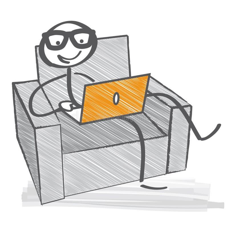 Het werken met Laptop royalty-vrije illustratie