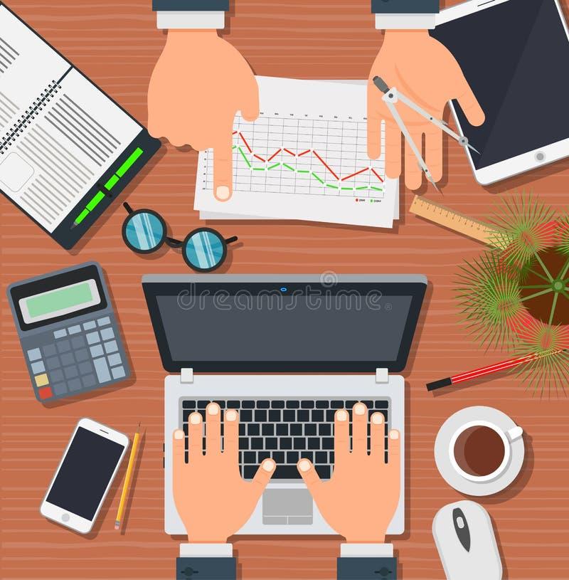 Het werkmensen van het bedrijfsbureauteam Vector de arbeiders collectieve werkplaats van het technologiebureau De lijstbeheer van royalty-vrije illustratie