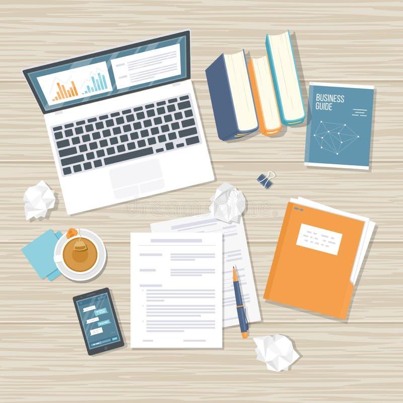 Het werkplaats, analytics, optimalisering, beheer Het hoogste het werkbureau van het menings houten bureau met laptop, documenten vector illustratie