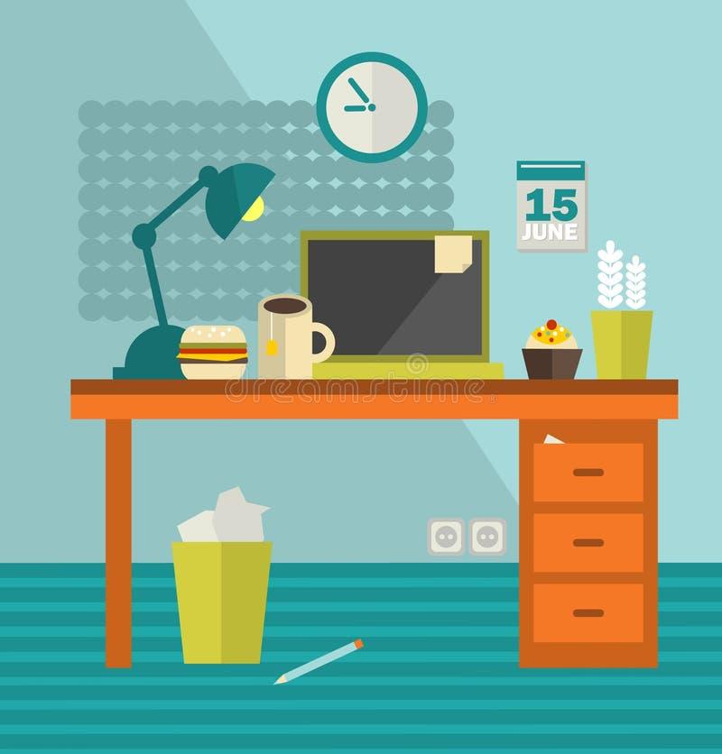 Download Het Werkplaats Van Webontwerper Met Ongezond Voedsel. Vector Illustratie - Illustratie bestaande uit apparaat, notitieboekje: 39105519