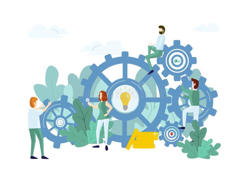 Het werkproces met mensen en mechanisme royalty-vrije illustratie