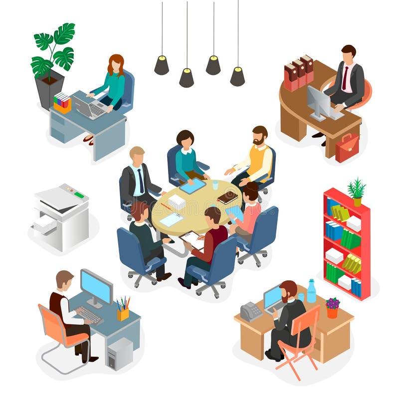 Het werkruimte, mensen op het werk vector illustratie