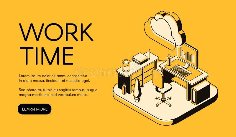 Het werktijd en de vectorillustratie van de bureauwerkplaats vector illustratie