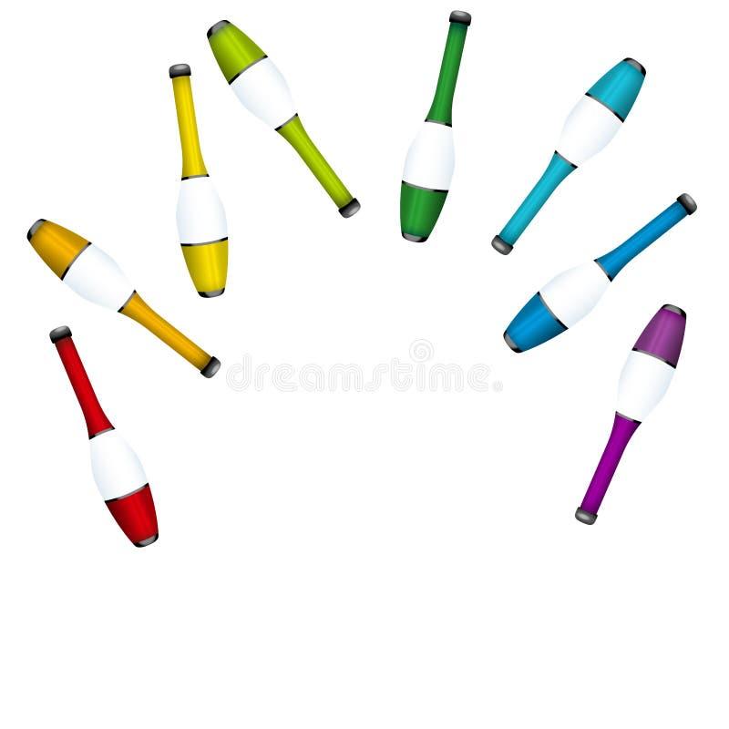 Het werpen op het Jongleren van met Clubs jongleert met Gekleurde Reeks vector illustratie