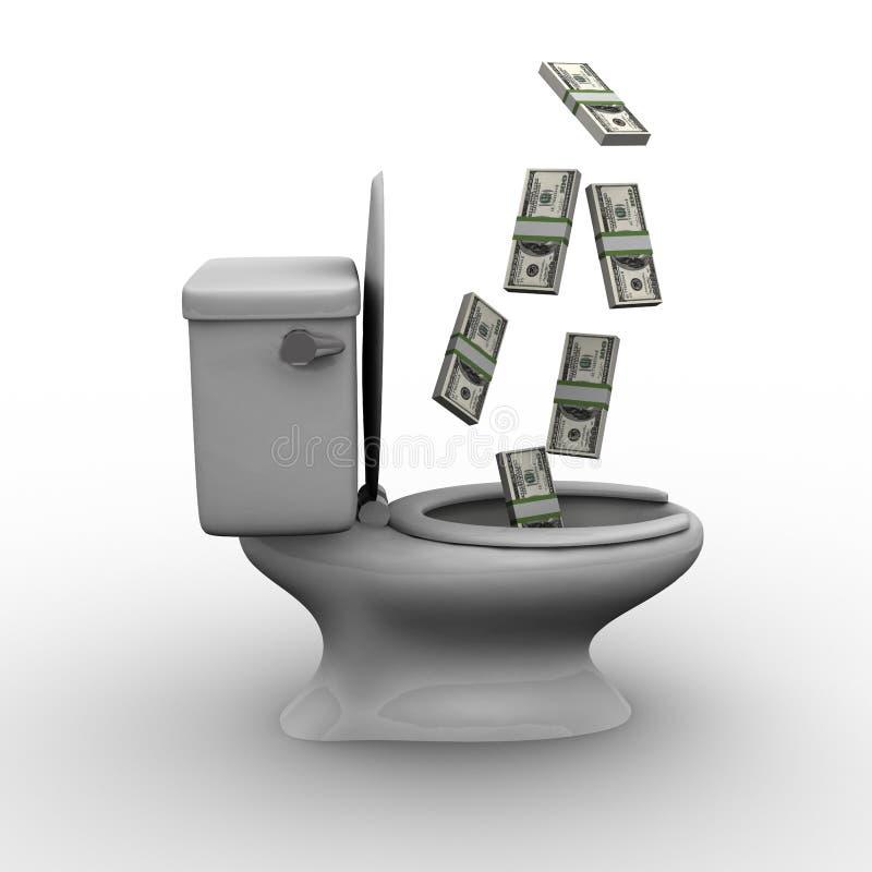 Het werpen van Geld onderaan het Toilet stock illustratie