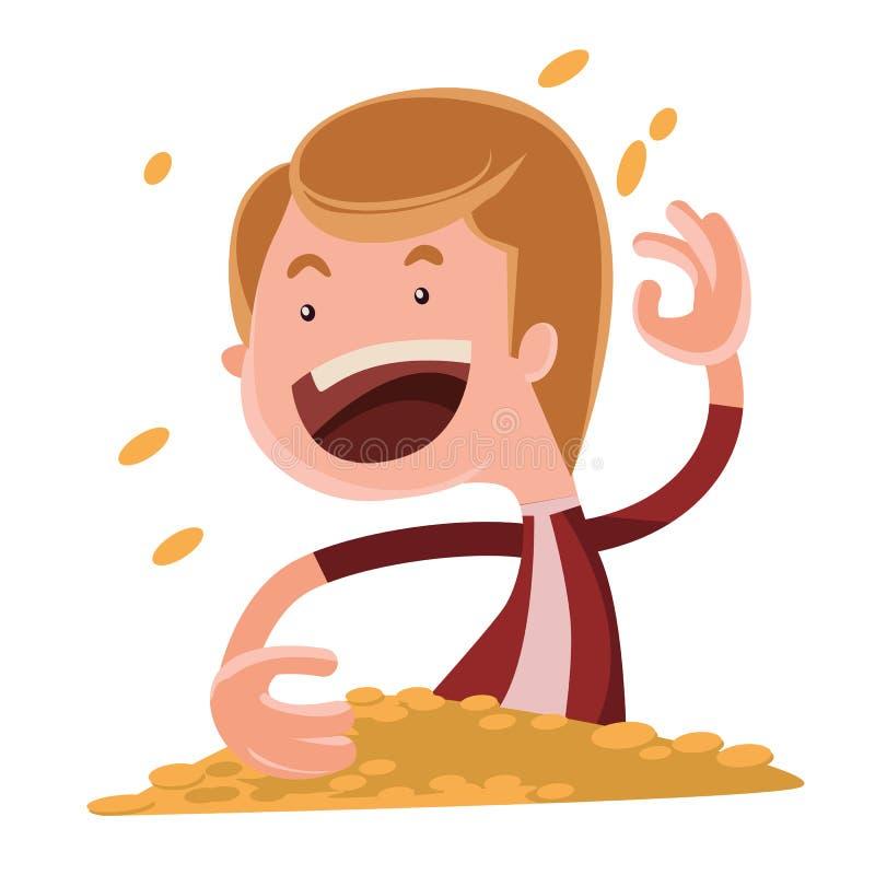 Het werpen van gouden het beeldverhaalkarakter van de muntstukkenillustratie stock illustratie