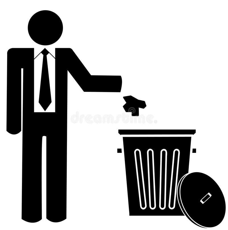 Het werpen van huisvuil in afval stock illustratie