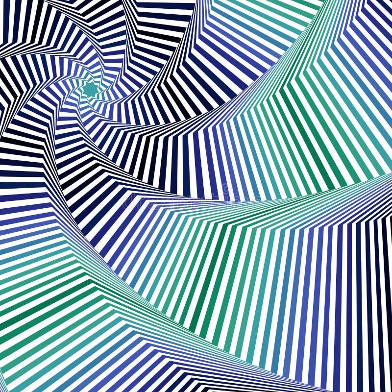 Het wervelen van blauwe en groene achthoekige stervormen vector illustratie