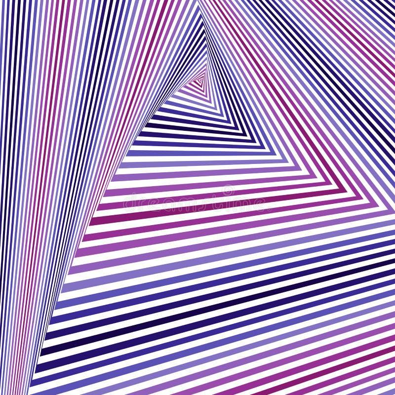 Het wervelen van magenta, blauwe en witte driehoeksvormen stock illustratie