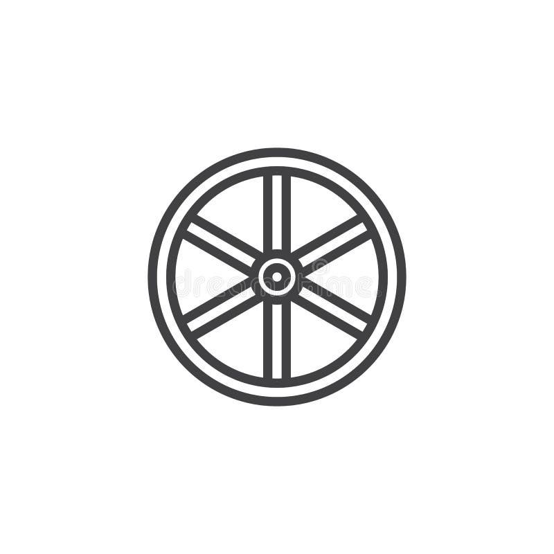 Het westelijke pictogram van de wiellijn vector illustratie