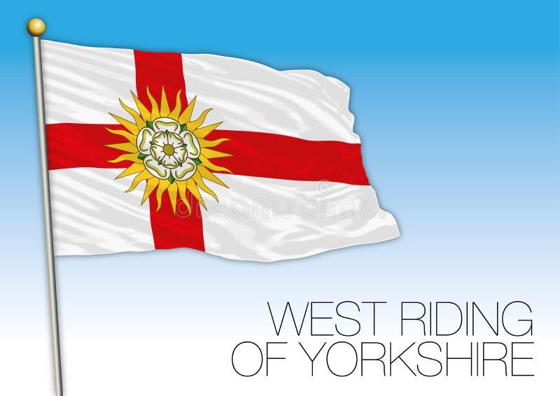 Het westen het Berijden van de vlag van Yorkshire, het Verenigd Koninkrijk, provincie van het UK vector illustratie