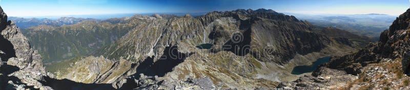 Het westen en van het oosten panoramamening van Krivan in de bergen van Vysoke Tatry royalty-vrije stock afbeelding