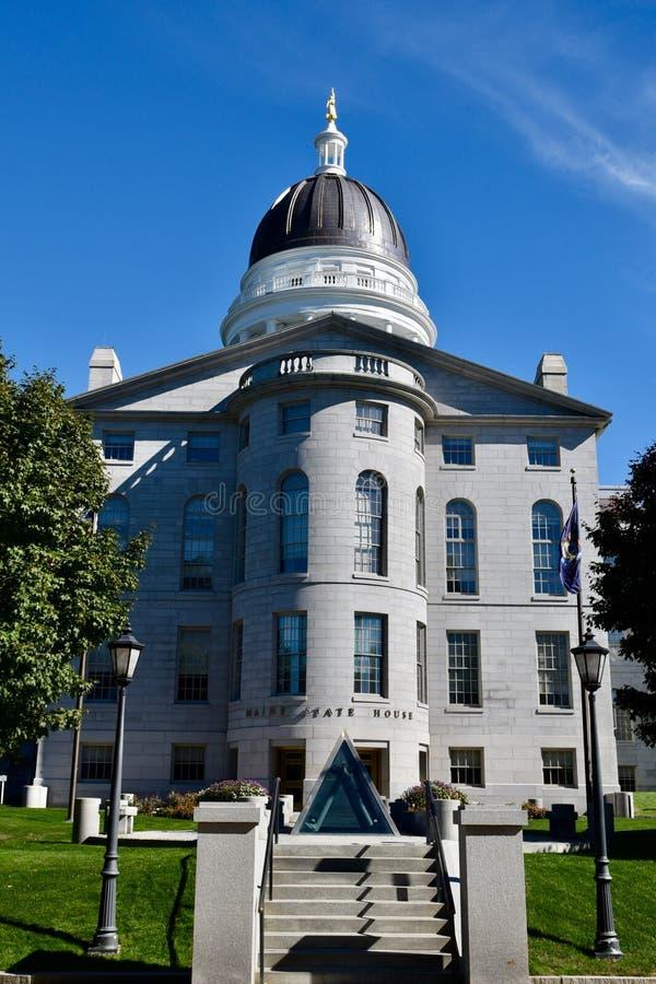 Het westeningang aan Maine State House royalty-vrije stock afbeeldingen