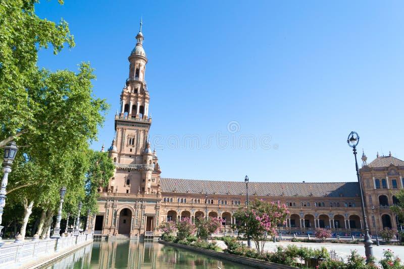 Het westenkant van het Vierkant van Spanje in Sevilla stock foto