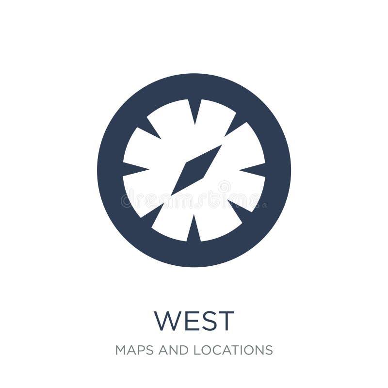 Het westenpictogram In vlak vector het Westenpictogram op witte achtergrond van stock illustratie