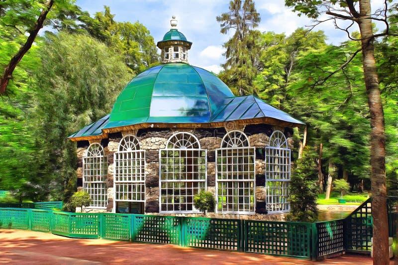 Het westenvogelhuis in het Lagere Park van Peterhof royalty-vrije illustratie