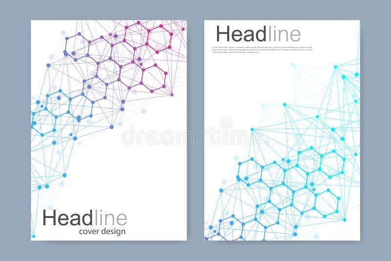 Het wetenschappelijke malplaatje van het brochureontwerp Vectorvliegerlay-out, Moleculaire structuur met verbonden lijnen en punt vector illustratie