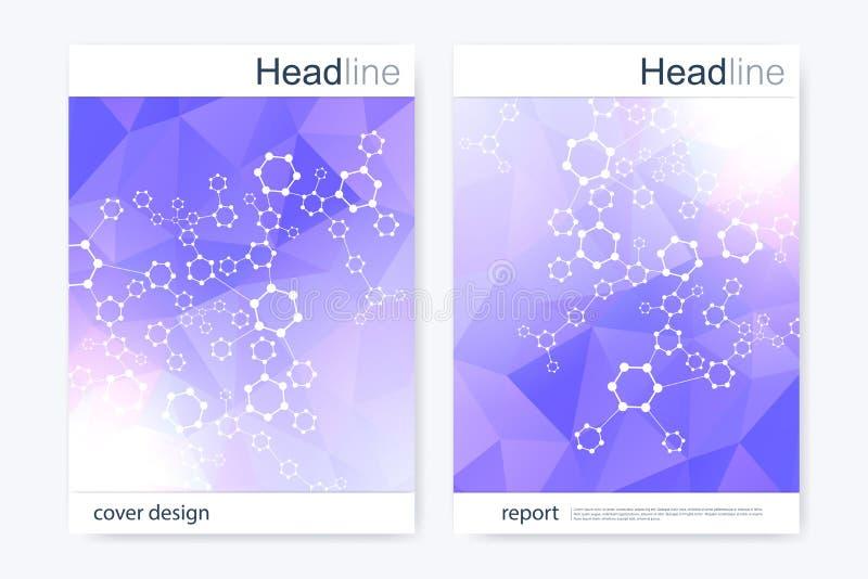 Het wetenschappelijke malplaatje van het brochureontwerp Vectorvliegerlay-out Hexagonale moleculestructuur vector illustratie