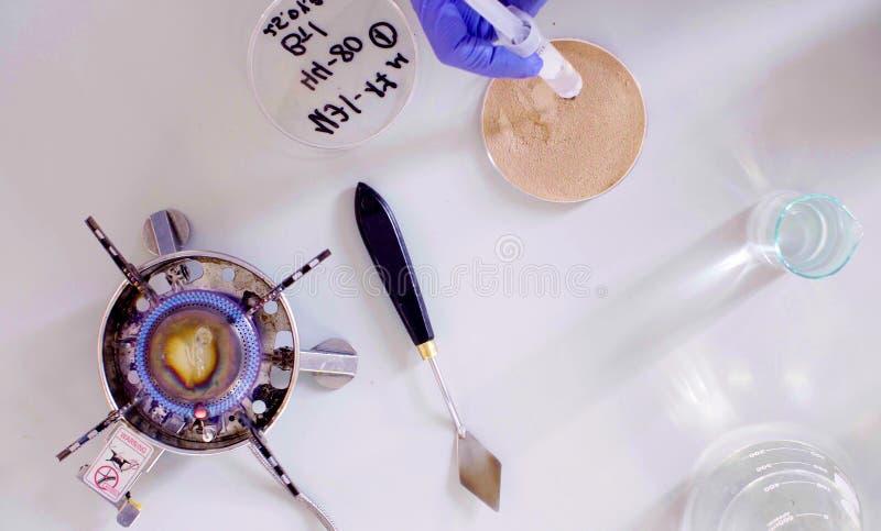 Het wetenschapper druipende water in de grondsteekproef stock foto's
