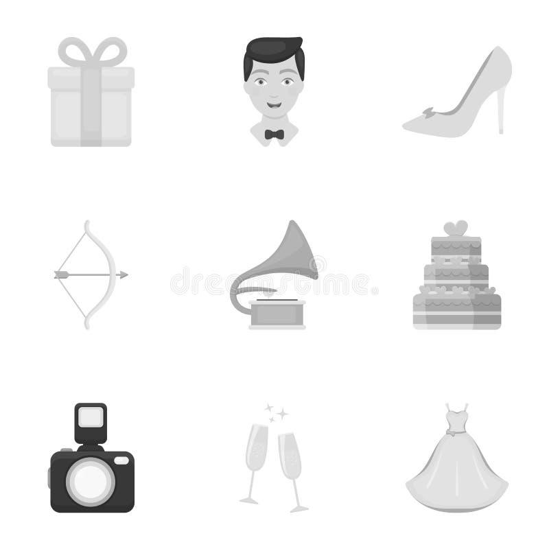 Het wieden van vastgestelde pictogrammen in zwart-wit stijl Grote inzameling van de voorraadillustratie van het huwelijks vectors stock illustratie