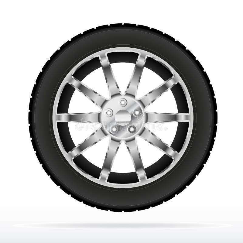Het wiel en de band van de auto stock illustratie