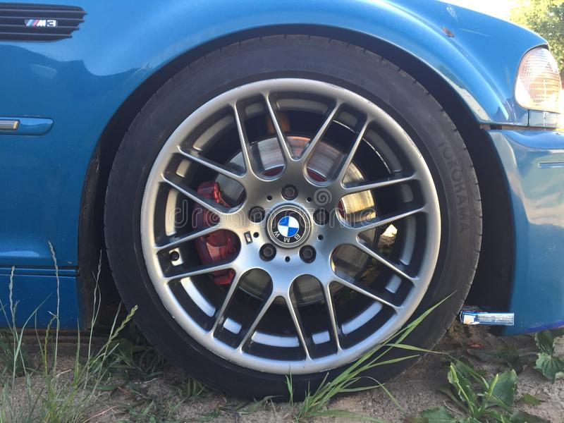 HET WIEL VAN BMW M3 CSL stock afbeeldingen