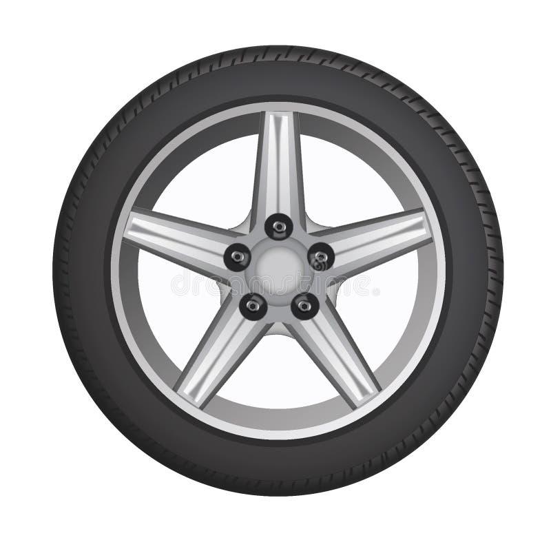 Het wiel van de auto band Zwart geïsoleerd wiel met een grijze schijf stock illustratie