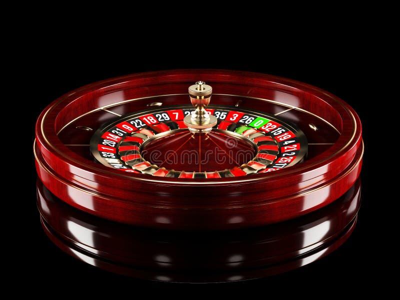 Het wiel van de casinoroulette op zwarte achtergrond wordt geïsoleerd die 3D Teruggevende Realistische Illustratie Het online cas royalty-vrije stock foto's
