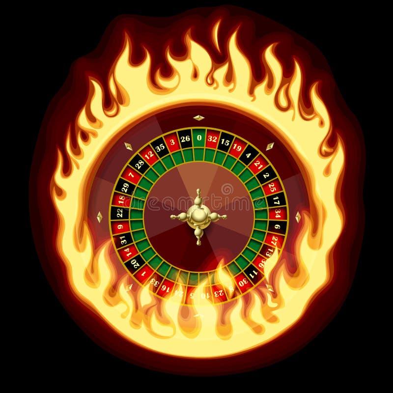 Het wiel van de casinoroulette in vurige ring op donkergroene achtergrond royalty-vrije illustratie