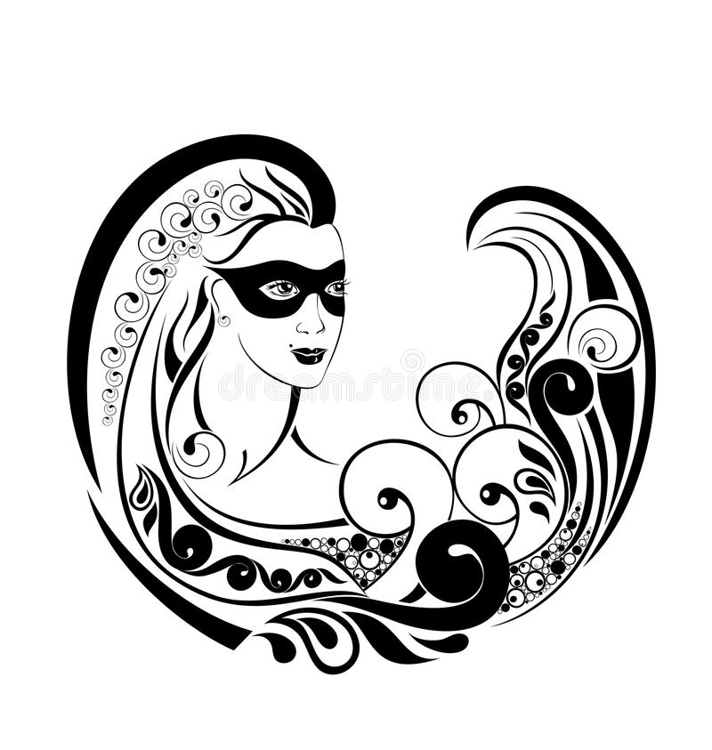 Het Wiel van de dierenriem met teken van Maagd. Het ontwerp van de tatoegering. royalty-vrije illustratie