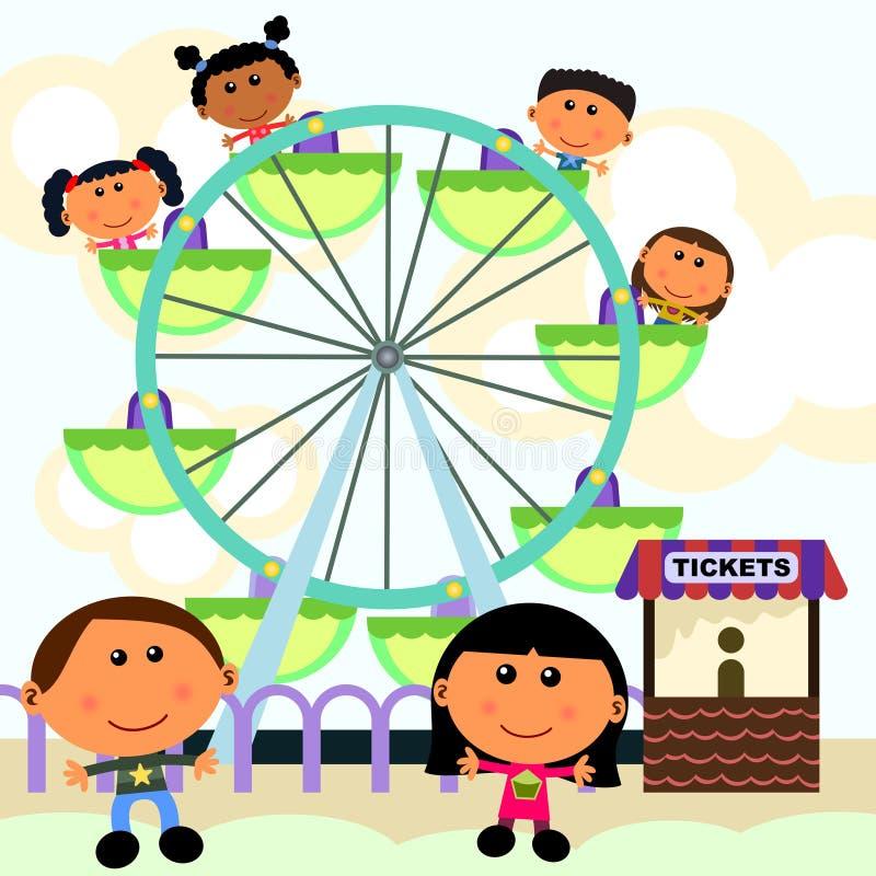 Het wiel van de scèneferris van Carnaval stock illustratie